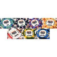 WSOP 2010 kerámia póker zseton mintakészlet (25 - 100.000, 7 db zseton)